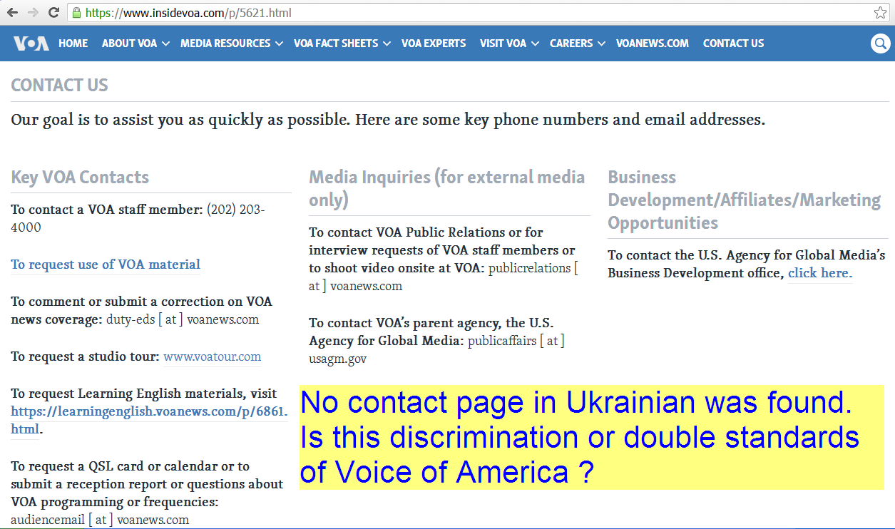 Voice of America Contacts